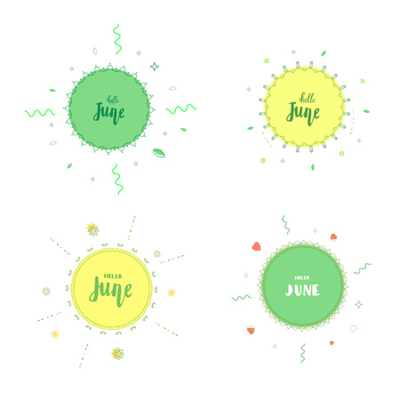 Set of Hello June banners. Element for summer graphic design. Vector illustration.