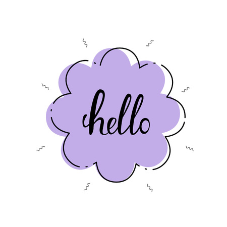 Hello banner. Handwritten lettering flowers frame and with decoration. Vector illustration. Illustration