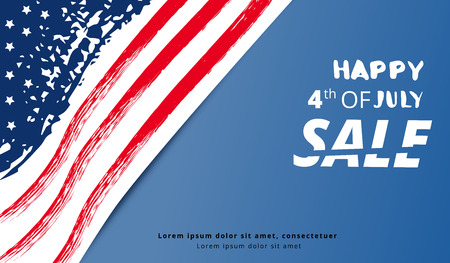 Happy of 4th of July Sale lettering. Independence Day horizontal banner. National flag card with text. Template for holiday design. Vector illustration.