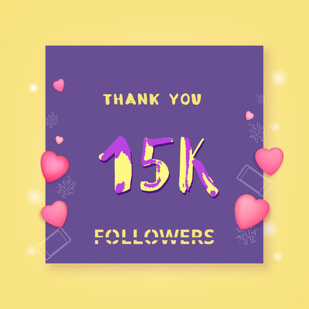 15K followers thank you card. Celebration 15000 subscribers banner for public channel. Template for social media. Vector illustration. 向量圖像