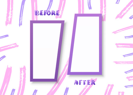 Before and After horizontal screen with brush lines decorations. Comparison banner with empty space. Template for graphic design. Vector illustration.