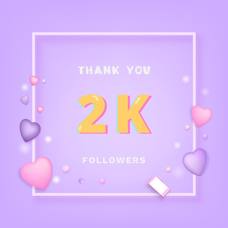 2K followers thank you card. Celebration 2000 subscribers banner. Template for social media. Vector illustration. Stock Illustratie