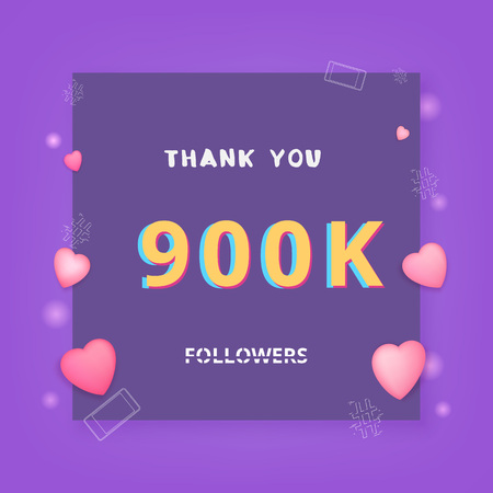 900K followers thank you card. Celebration 900000 subscribers banner. Template for social media. Vector illustration. 向量圖像