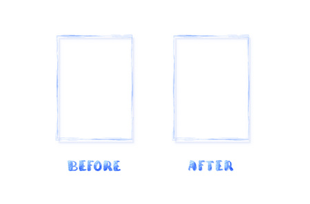 Before and After lettering with frames isolated. Comparison banner with empty space. Template for graphic design. Vector illustration.
