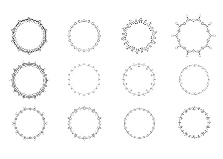 Set of round decorative frames. Vintage black circulars borders isolated on white background. Vector illustration. 矢量图像