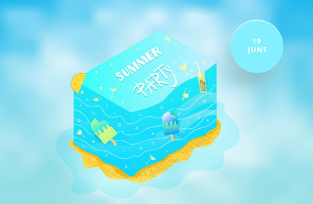 Summer Party flyer wiht cloudy background.  Horizontal template for event design. Vector illustration. Illustration