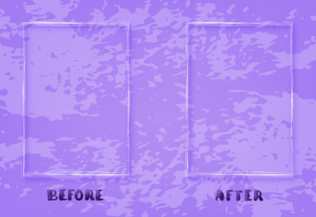 Before and After screen. Comparison ultra violet banner with empty space and textured background. Template for graphic design and social media post. Vector illustration. Vettoriali