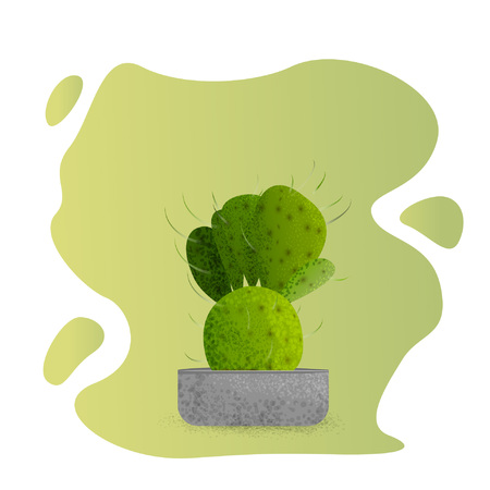 Cactus in the flowerpot isolated. Houseplant in the cement pot. Element for cartoon design. Vector illustration.
