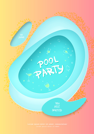 Pool party flyer. Vertical holiday banner with papercut shapes and decoration. Template for event design. Vector illustration.