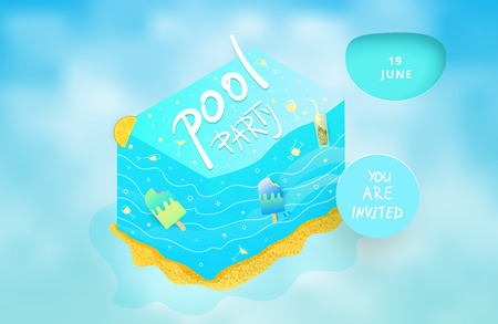 Pool Party flyer with cloudy background.  Template for summer holiday event design. Vector illustration. Vectores