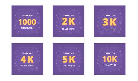Set of followers thank you cards. Celebration  subscribers  banners. 1000, 2k, 3k, 4k, 5k, 10k screens for public channel. Template for social media. Vector illustration. Illusztráció