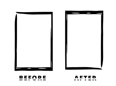 Before and After sliced text with black frames isolated on white background. Comparison banner with empty space. Template for graphic design. Vector illustration.