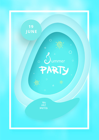 Summer Party blue flyer.  Paper cut effect. Vertical  template for summer holiday design. Vector illustration.