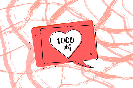 1000 likes post. 1K likes speech bubble with horizontal brush lines decorative background. Greeting card for social networks. Template for social media post for blog. Vector illustration.