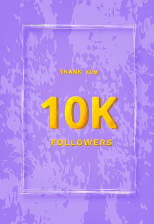 10K followers thank you post. 10000 subscribers vertical banner wiht frame. Greeting card for social networks. Template for social media post for blog. Vector illustration.