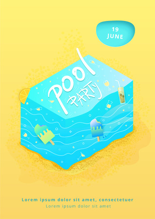 Pool Party creative banner.   Vertical  template for summer holiday design. Vector illustration.
