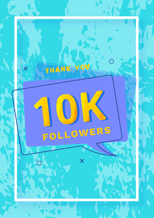 10K followers thank you post. 10000 subscribers. Vertical celebration card for social networks. Template for social media post. Vector illustration.