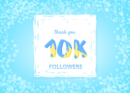 10K followers thank you post. 10000 subscribers horizontal banner with handwritten lettering and grain effect. Greeting card for social networks. Template for social media post. Vector illustration.