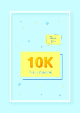10K followers thank you post. 10000 subscribers. Vertical celebration card for social networks. Template for social media post for blog. Vector illustration. Illusztráció