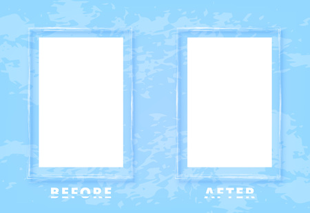 Before and After screen with sliced text and frames. Comparison blue banner with empty space and textured background. Template for graphic design. Vector illustration.