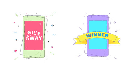 Giveaway and Winner set with phone isolated on white background. Vector illustration.