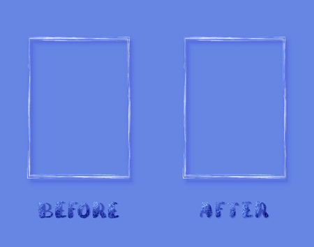 Before and After horizontal card. Comparison banner with empty space. Template for graphic design. Vector illustration. Vettoriali