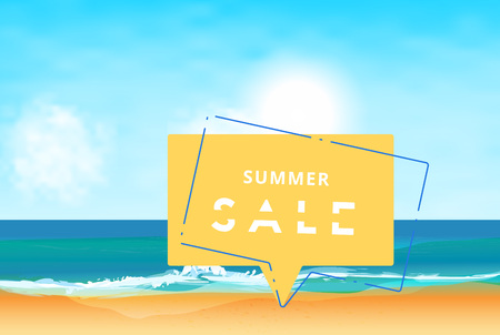 Summer Sale card. Template for ad with beach background and speech bubble. Vector illustration.