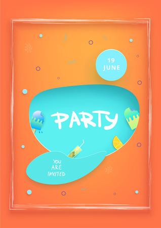 Party flyer. Paper cut effect shapes. Vertical template for summer holiday design.  Element  for social media invitation post. Vector illustration. Ilustração