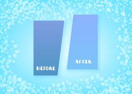 Before and After screen. Comparison blue banner with empty space. Template for graphic design. Vector illustration.