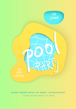 Pool Party flyer. Papercut effect shapes. Vertical  templates for summer holiday design. Vector illustration.