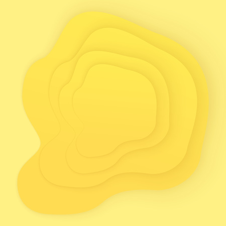 Yellow abstract background. Vector square template with papercut shapes.