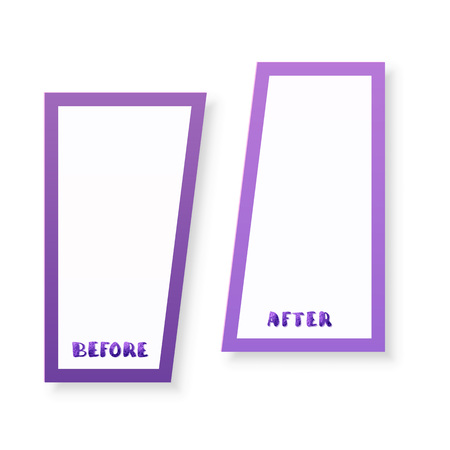 Before and After handwritten lettering with frame shapes isolated on white background. Comparison banner with empty space. Template for graphic design. Vector illustration.