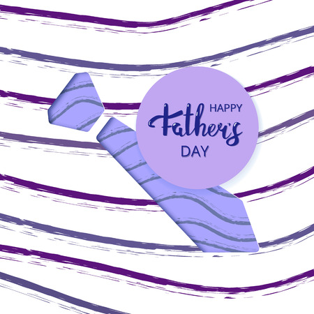 Happy Father's Day card with papercut tie andr lines decoration. Handwritten lettering. Fathers day banner. Vector Illustration.