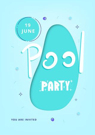 Vertical Pool Party blue banner. Template for holiday summer flyer design. Vector illustration.