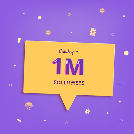 1M followers thank you post with decoration. 1000000 subscribers banner with speech bubble. Greeting card for social networks. Vector illustration.