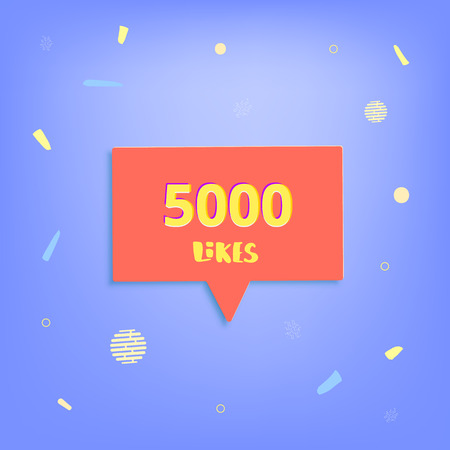 5000 likes thank you post. Greeting card with red speech bubble for social networks. Template for social media channel. Vector illustration.