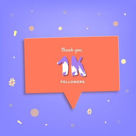 1K followers thank you post with decoration. 1000 subscribers banner with speech bubble. Template for social media networks. Vector illustration.