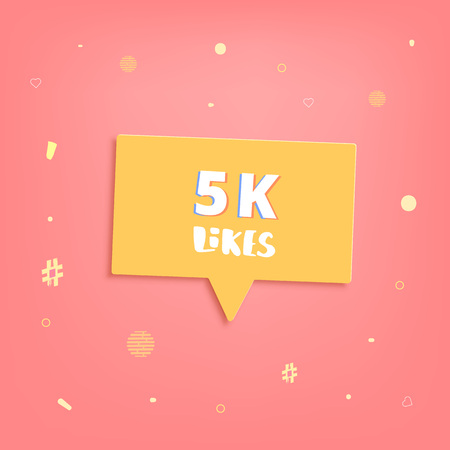 5K likes thank you post. Greeting card with speech bubble for social networks. Template for social media channel. Vector illustration.
