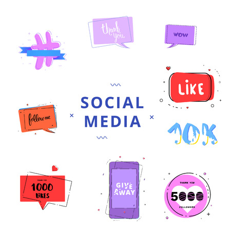 Social media set of  banners with lettering isolated on white background. Like, 5K followers, Follow me, 1000 likes, Thank you. Giveaway phrases. Elements for public channels design. Vector illustrati