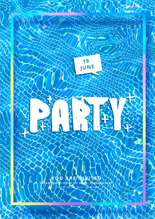 Party vertical flyer with foil frame and water background. Template for holiday design. Banner for event invitation. Social media post. Vector illustration.
