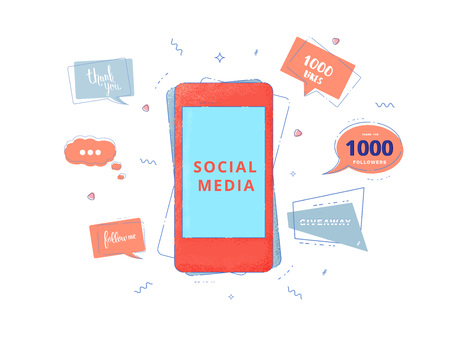 Social media set of  banners with lettering isolated on white background. Phone and speech bubble shapes. Thank you, 1K followers, Follow me, 1000 likes, Giveaway text. Vector illustration.