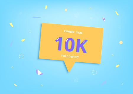 10K followers thank you post with decoration. 10000 subscribers banner with speech bubble.  Template for social media networks. Vector illustration. Illusztráció