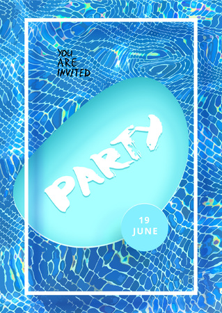 Party vertical flyer with papercut swimming pool and water background. Template for holiday design. Banner for event invitation. Social media post. Vector illustration. Illustration