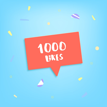 1000 likes thank you post. Greeting card with red speech bubble for social networks. Template for social media channel. Vector illustration.