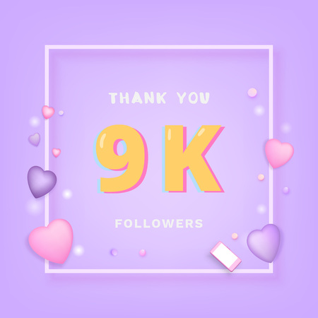 9K followers thank you card. Celebration 9000 subscribers  banner. Template for social media. Vector illustration. Ilustração