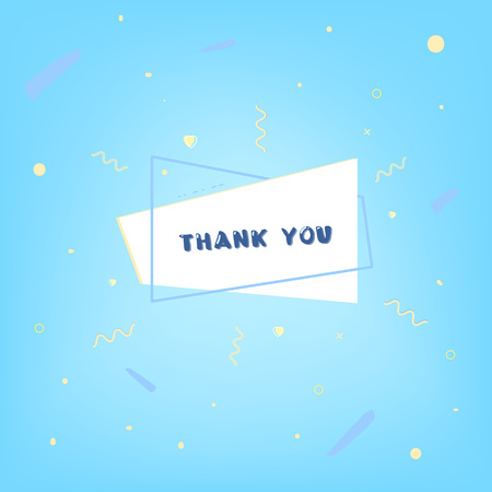 Thank you card with geometric shape. Banner with handwritten lettering and decoration elements. Vector illustration.