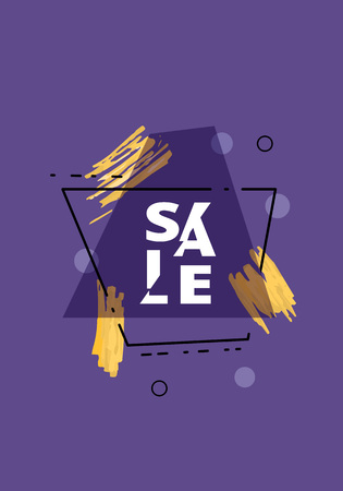 Sale banner with geometric abstract composition. Dark promotion card with sliced trendy text. Violet poster for advertising design. Vector illustration. Vettoriali