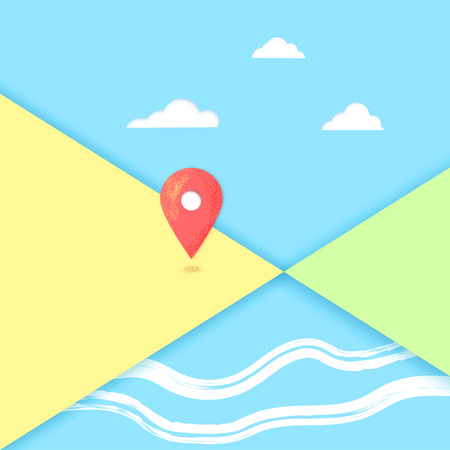 Composition with map pointer. Banner with location mark and papercut shapes.  Vector illustration.
