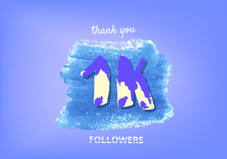 1K followers thank you post with decoration. 1000 subscribers banner with watercolor element. Template for social media networks. Vector illustration. Illustration