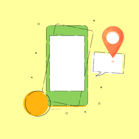 Composition with phone and map pointer. Banner with location mark, speech bubble and mobile.  Vector illustration.